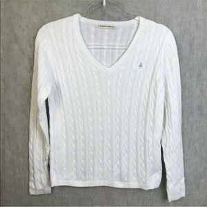 Fairway& Greene Cable knit V Neck Sweater Medium